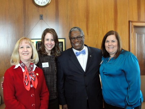 League President Marissa Schaffner and 2014-15 incoming president Julie Randolph, met with Mayor Sly James and City Councilwoman Jan Marcason to discuss the impact the Junior League of Kansas City, Missouri has made on the KC community for the past 100 years.